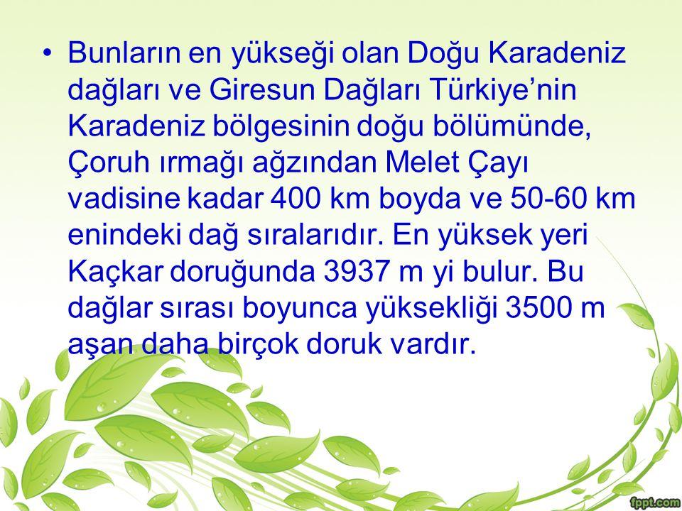 Bunların en yükseği olan Doğu Karadeniz dağları ve Giresun Dağları Türkiye'nin Karadeniz bölgesinin doğu bölümünde, Çoruh ırmağı ağzından Melet Çayı vadisine kadar 400 km boyda ve 50-60 km enindeki dağ sıralarıdır.