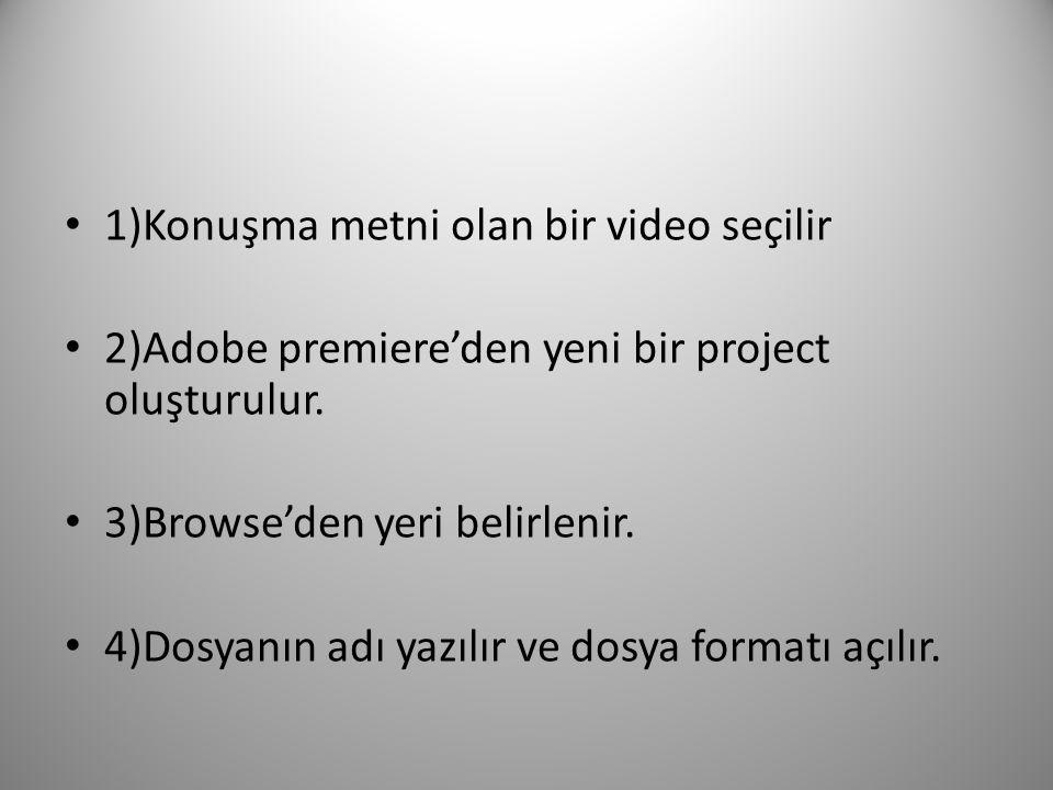 1)Konuşma metni olan bir video seçilir