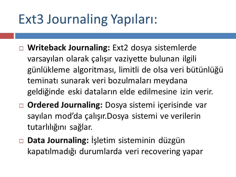 Ext3 Journaling Yapıları: