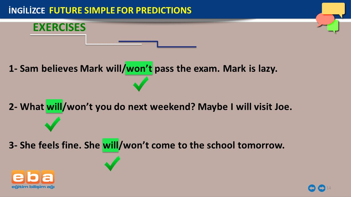 EXERCISES 1- Sam believes Mark will/won't pass the exam. Mark is lazy.