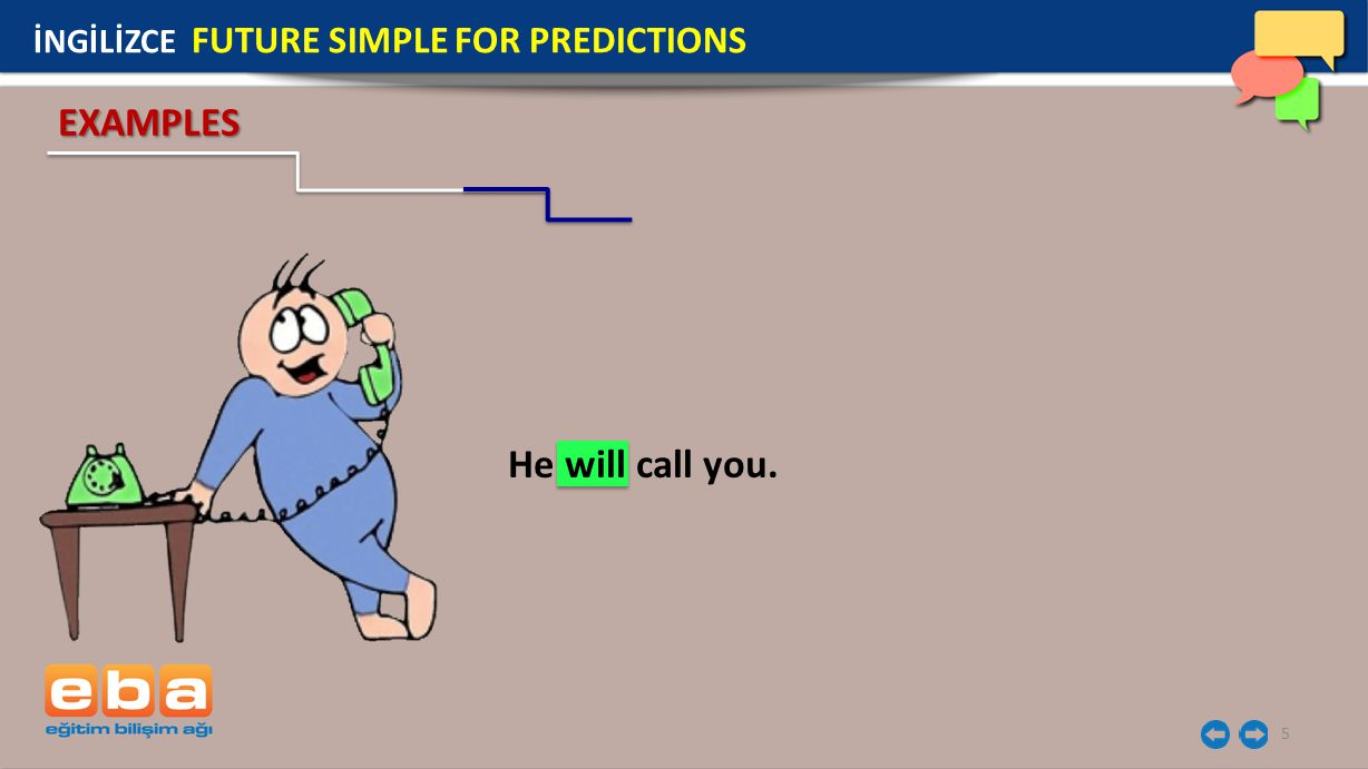 İNGİLİZCE FUTURE SIMPLE FOR PREDICTIONS