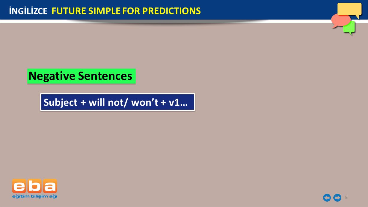 Negative Sentences Subject + will not/ won't + v1…
