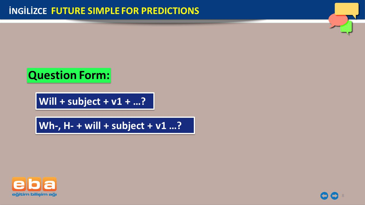 Question Form: Will + subject + v1 + …