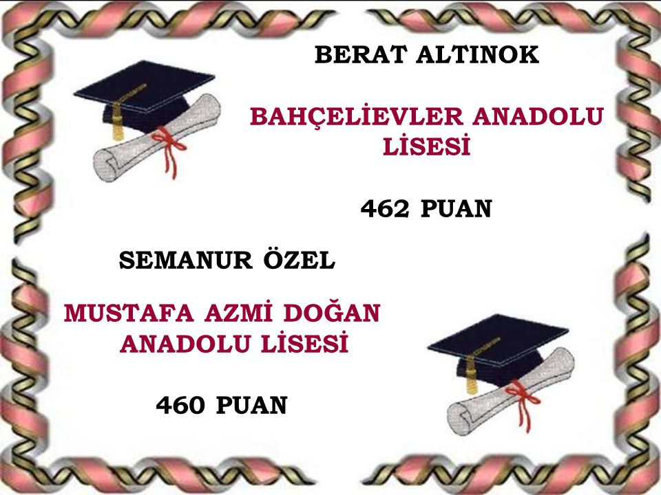 BERAT ALTINOK BAHÇELİEVLER ANADOLU LİSESİ 462 PUAN