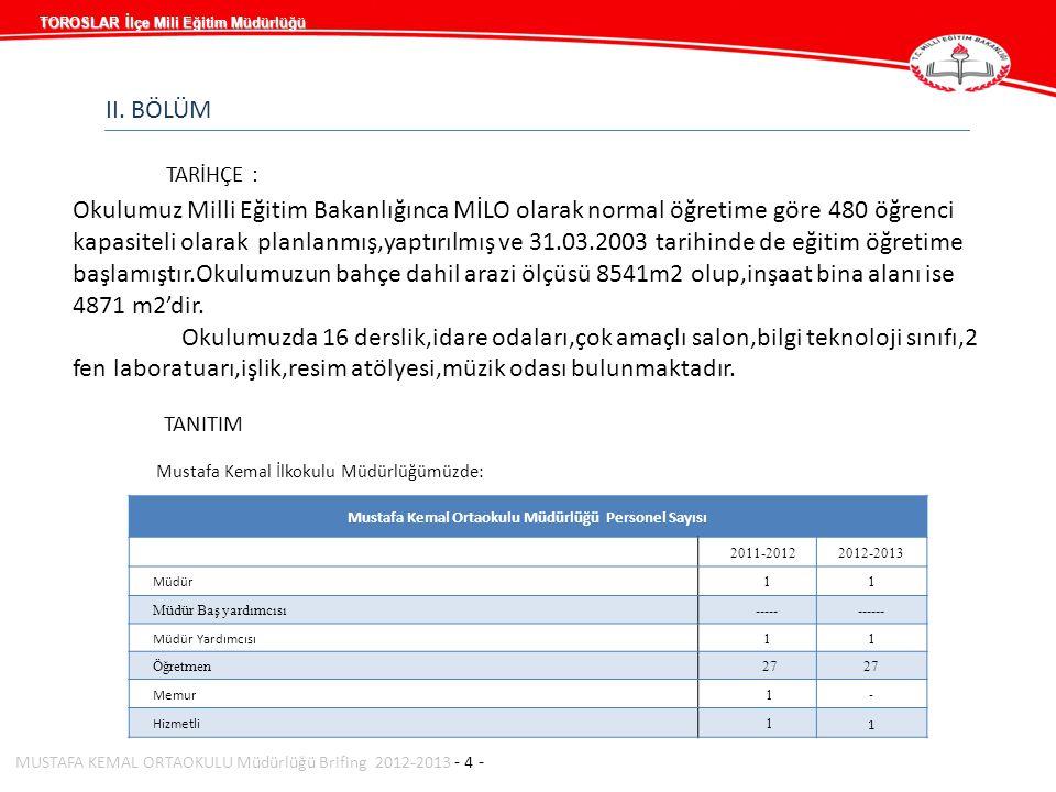 Mustafa Kemal Ortaokulu Müdürlüğü Personel Sayısı