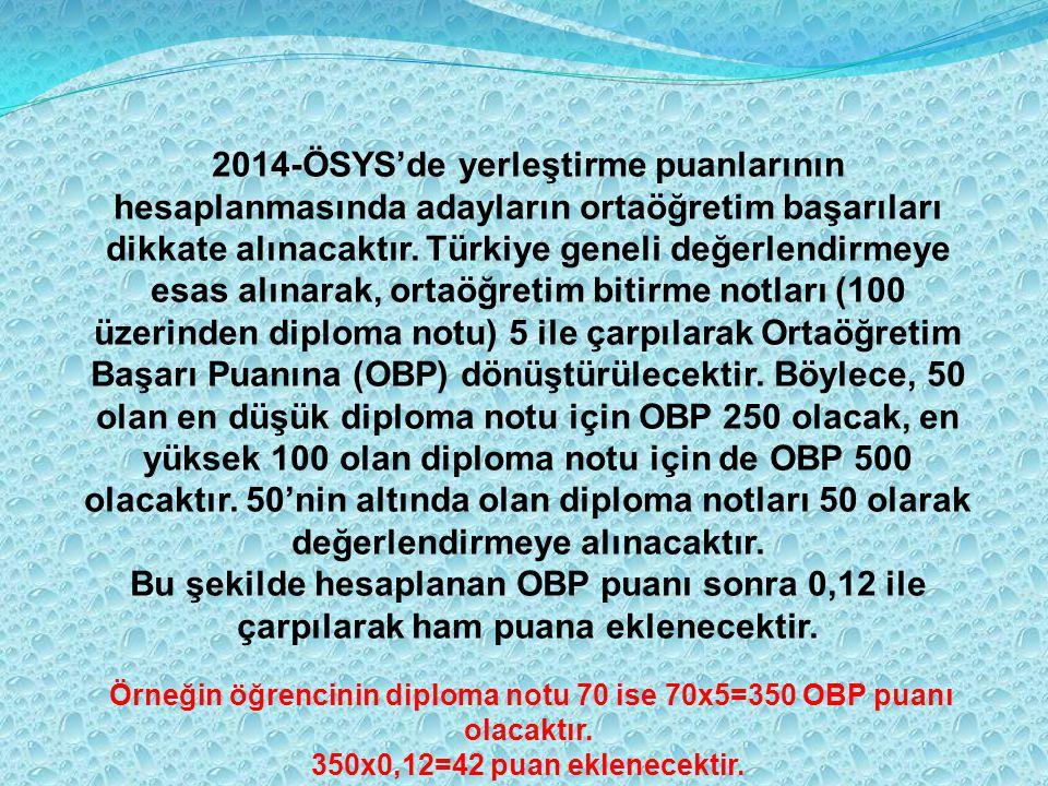 Örneğin öğrencinin diploma notu 70 ise 70x5=350 OBP puanı olacaktır.