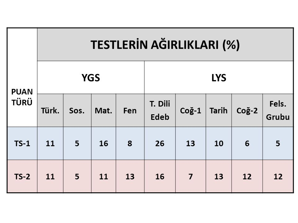 TESTLERİN AĞIRLIKLARI (%)