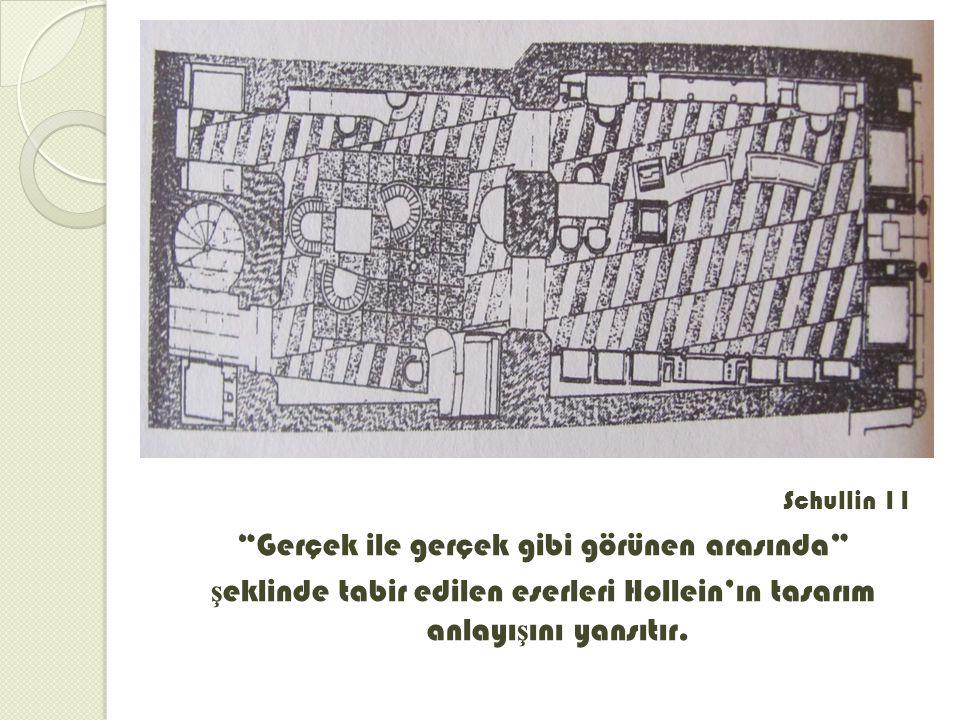 Schullin 11 Gerçek ile gerçek gibi görünen arasında şeklinde tabir edilen eserleri Hollein'ın tasarım anlayışını yansıtır.