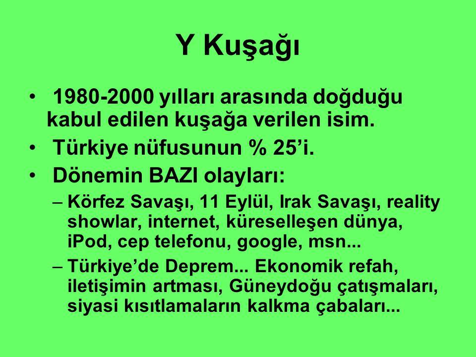 Y Kuşağı 1980-2000 yılları arasında doğduğu kabul edilen kuşağa verilen isim. Türkiye nüfusunun % 25'i.