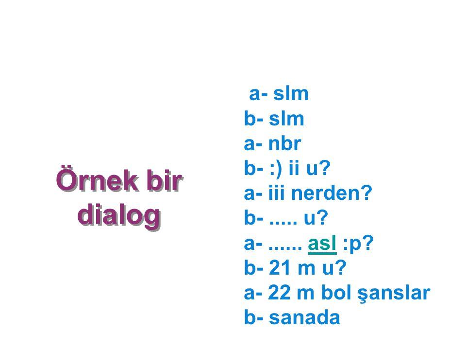 a- slm b- slm a- nbr b- :) ii u. a- iii nerden. b-. u. a-. asl :p