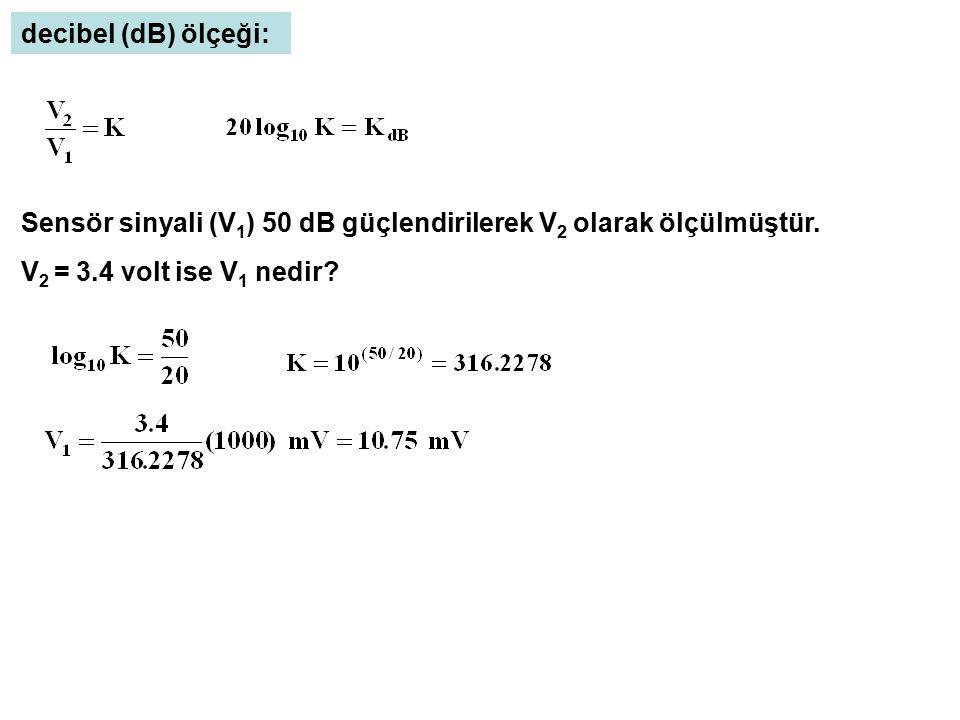 decibel (dB) ölçeği: Sensör sinyali (V1) 50 dB güçlendirilerek V2 olarak ölçülmüştür.