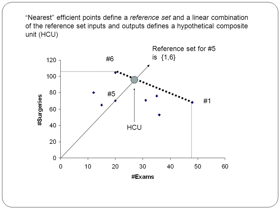 Nearest efficient points define a reference set and a linear combination of the reference set inputs and outputs defines a hypothetical composite unit (HCU)