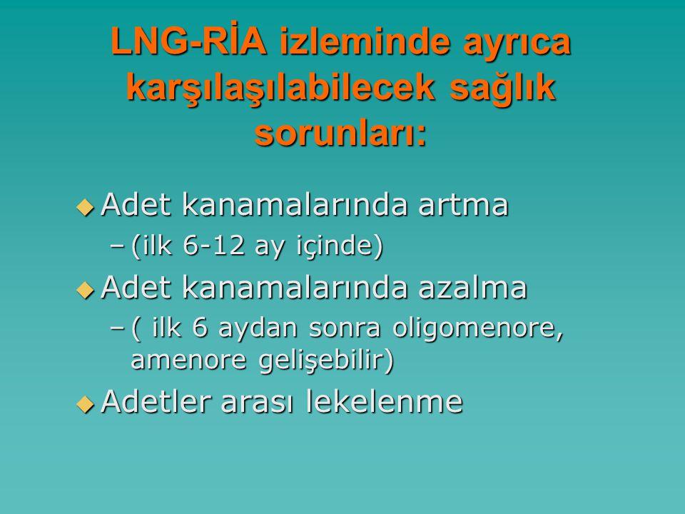 LNG-RİA izleminde ayrıca karşılaşılabilecek sağlık sorunları: