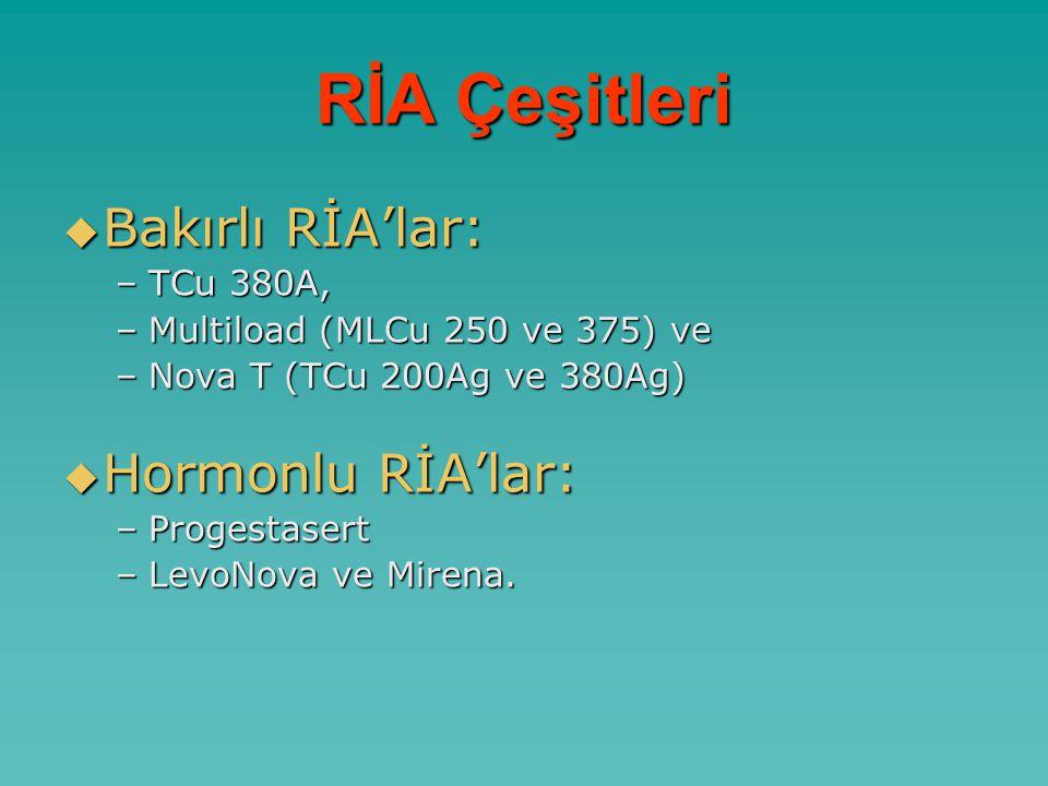 RİA Çeşitleri Bakırlı RİA'lar: Hormonlu RİA'lar: TCu 380A,