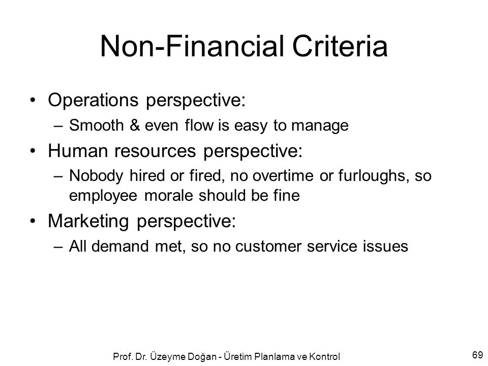 Non-Financial Criteria