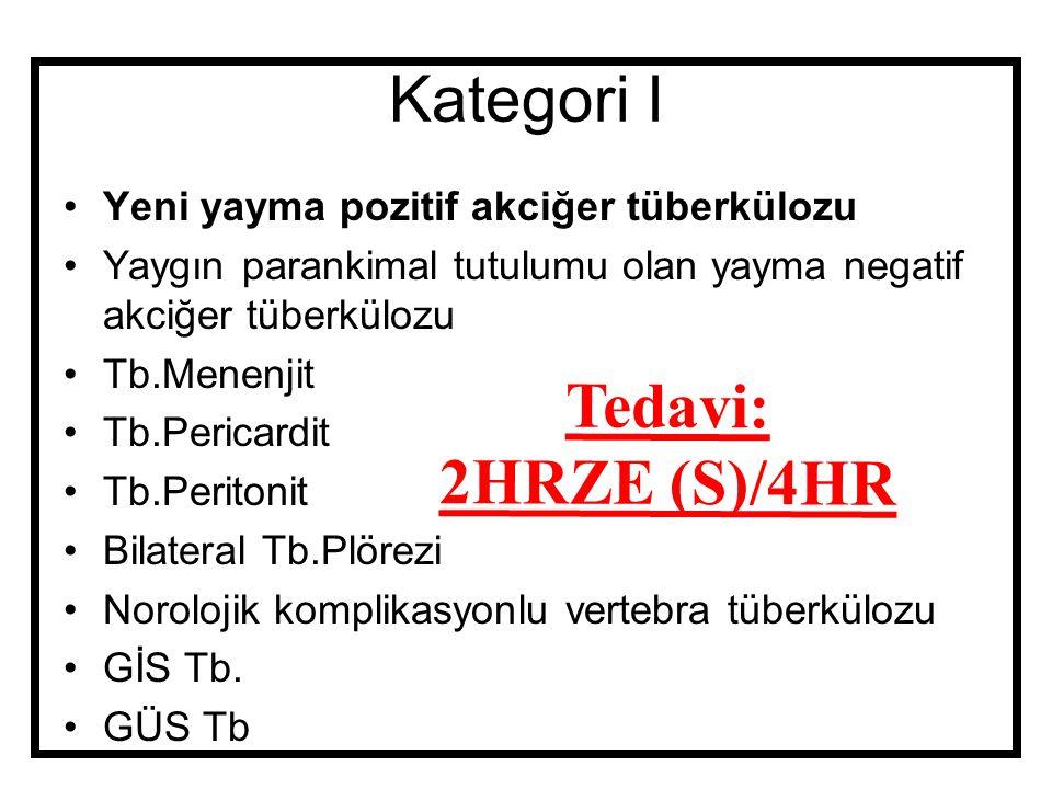 Kategori I Tedavi: 2HRZE (S)/4HR