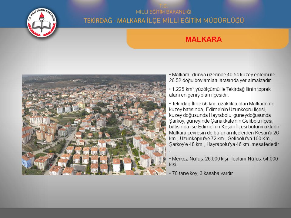 MALKARA Malkara, dünya üzerinde 40.54 kuzey enlemi ile 26.52 doğu boylamları, arasında yer almaktadır.
