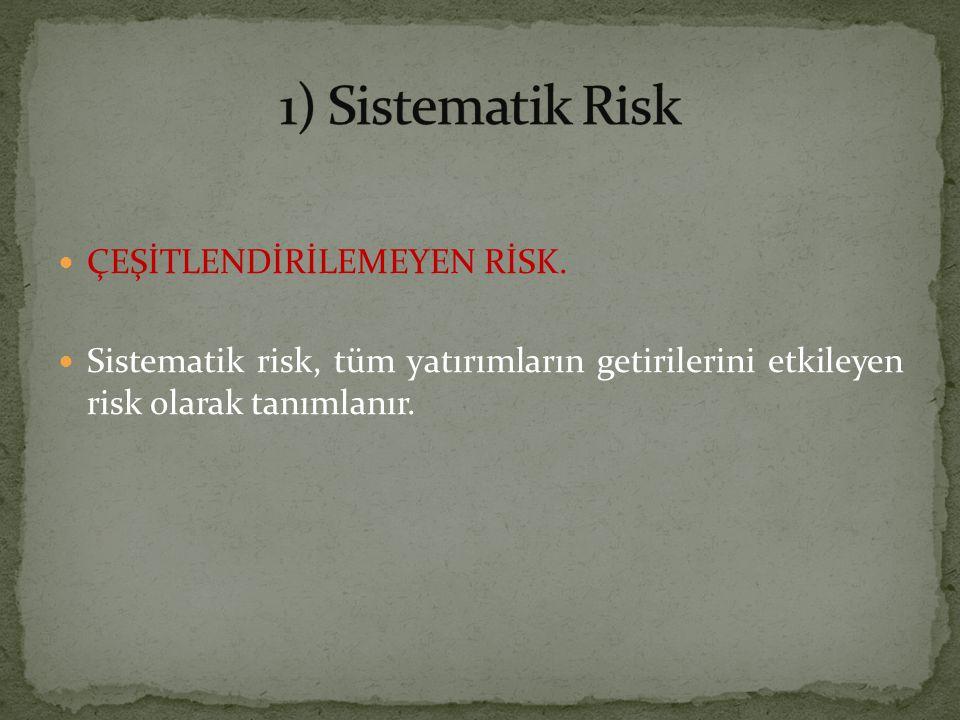1) Sistematik Risk ÇEŞİTLENDİRİLEMEYEN RİSK.