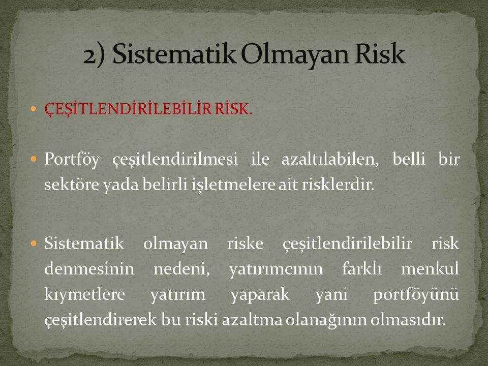 2) Sistematik Olmayan Risk