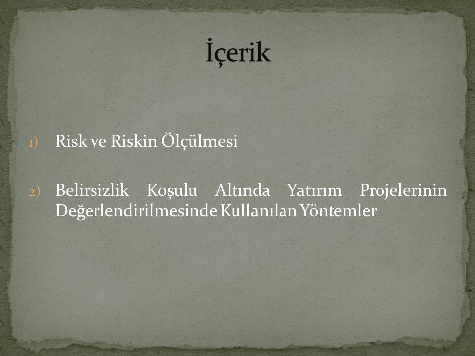 İçerik Risk ve Riskin Ölçülmesi