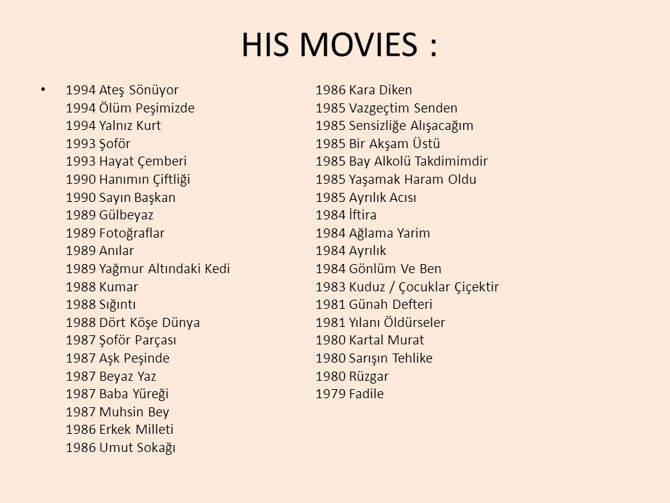 HIS MOVIES :