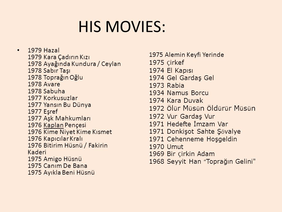 HIS MOVIES: