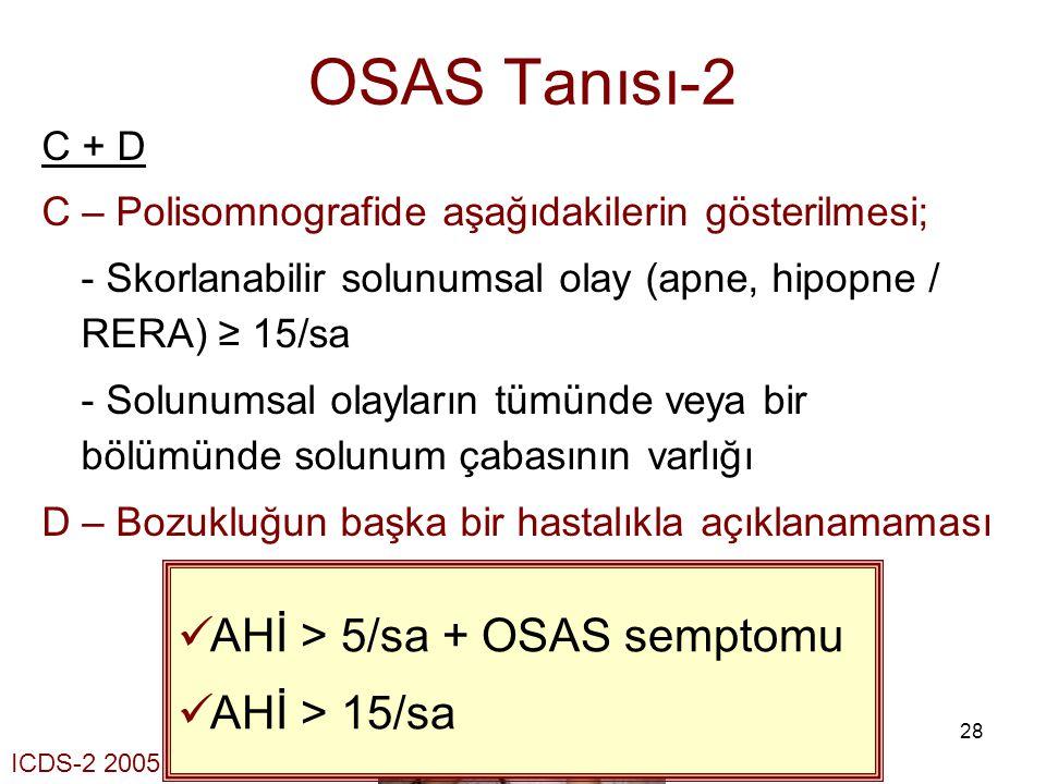 OSAS Tanısı-2 AHİ > 5/sa + OSAS semptomu AHİ > 15/sa C + D