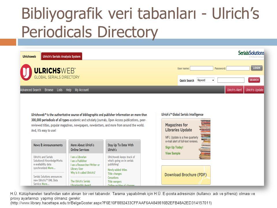 Bibliyografik veri tabanları - Ulrich's Periodicals Directory