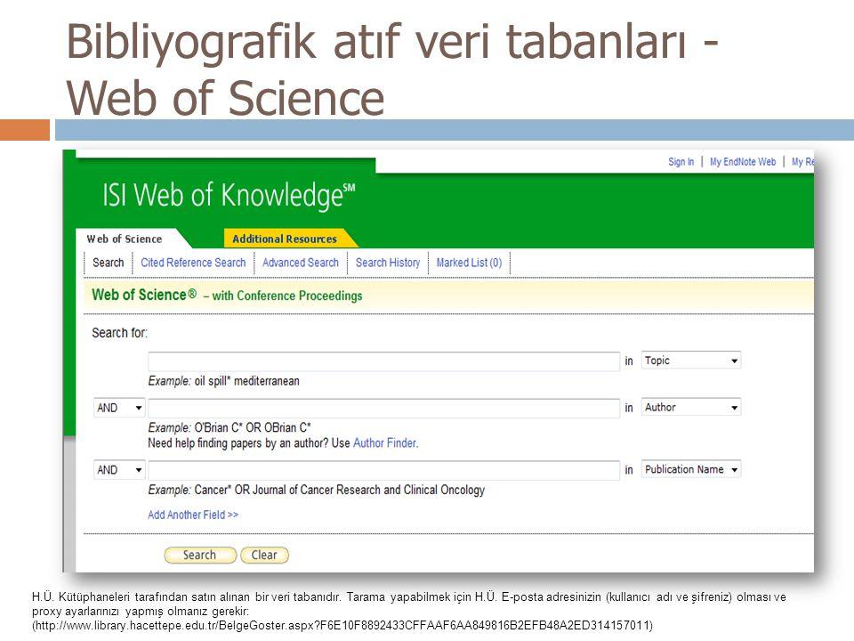 Bibliyografik atıf veri tabanları - Web of Science