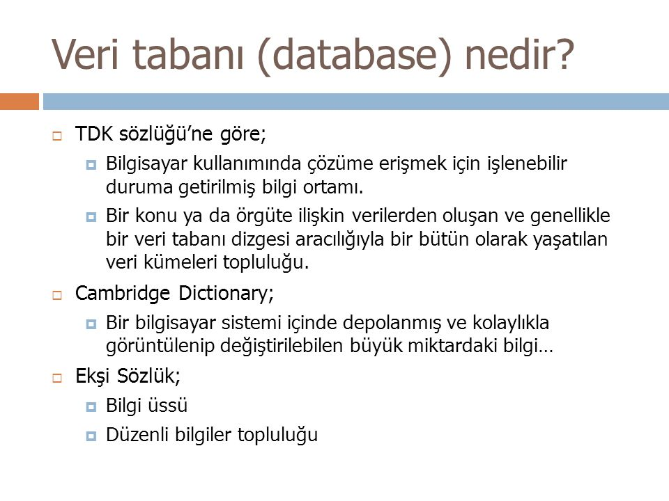 Veri tabanı (database) nedir