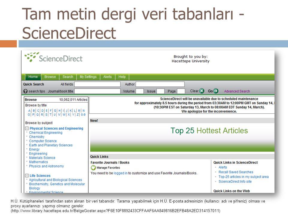 Tam metin dergi veri tabanları - ScienceDirect