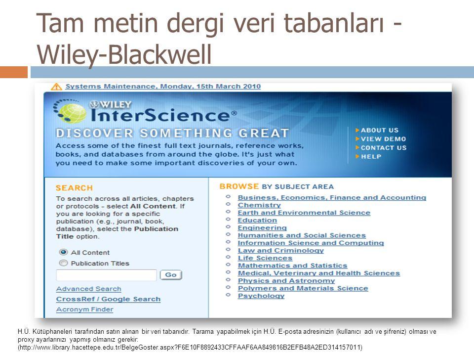 Tam metin dergi veri tabanları - Wiley-Blackwell