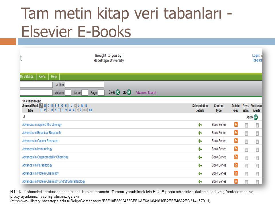 Tam metin kitap veri tabanları - Elsevier E-Books