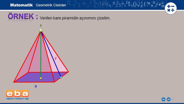 ÖRNEK : Verilen kare piramidin açınımını çizelim. s y a