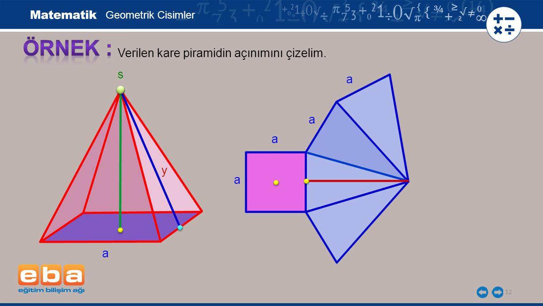 ÖRNEK : Verilen kare piramidin açınımını çizelim. s a a a y a a