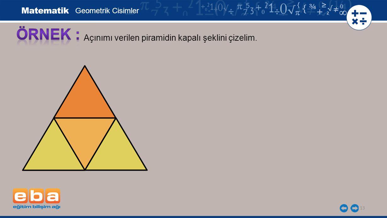 ÖRNEK : Açınımı verilen piramidin kapalı şeklini çizelim.