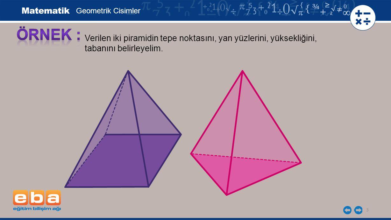 Geometrik Cisimler ÖRNEK : Verilen iki piramidin tepe noktasını, yan yüzlerini, yüksekliğini, tabanını belirleyelim.