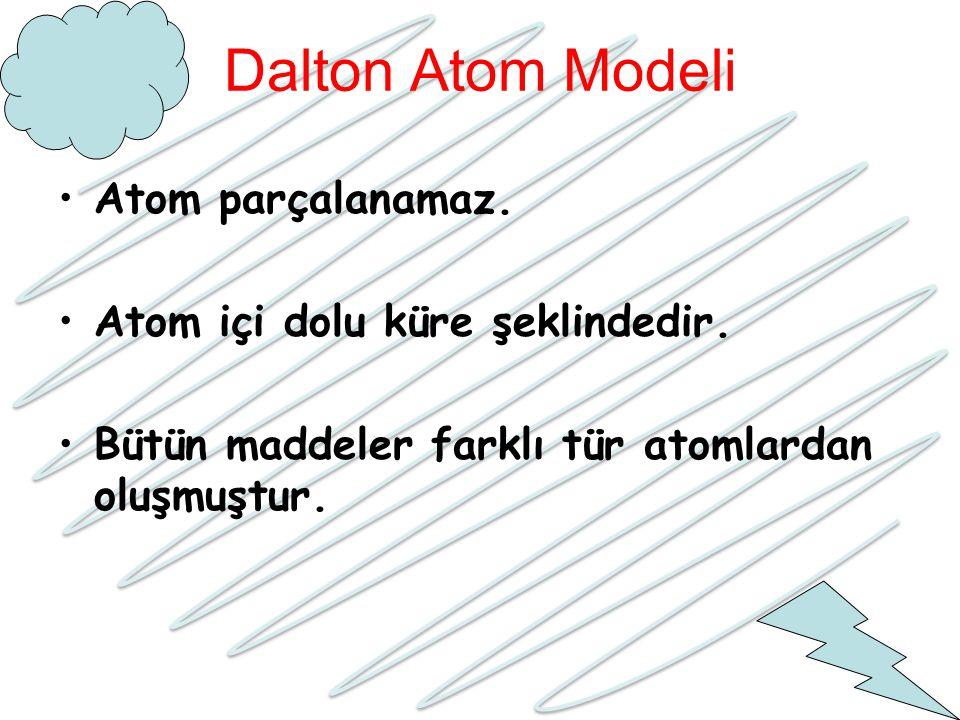 Dalton Atom Modeli Atom parçalanamaz. Atom içi dolu küre şeklindedir.