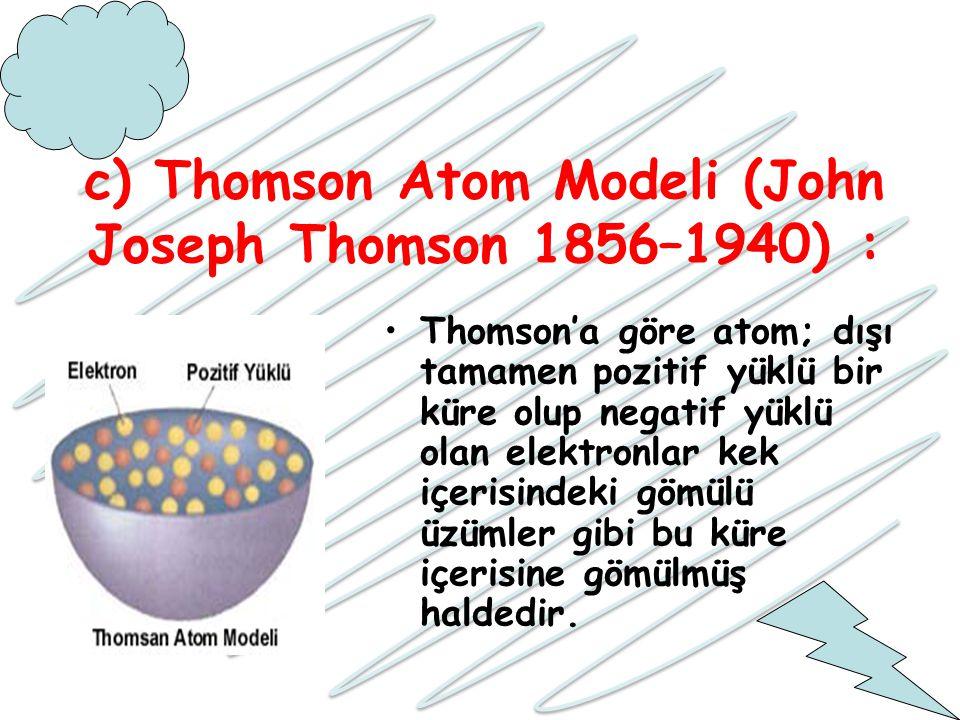 c) Thomson Atom Modeli (John Joseph Thomson 1856–1940) :