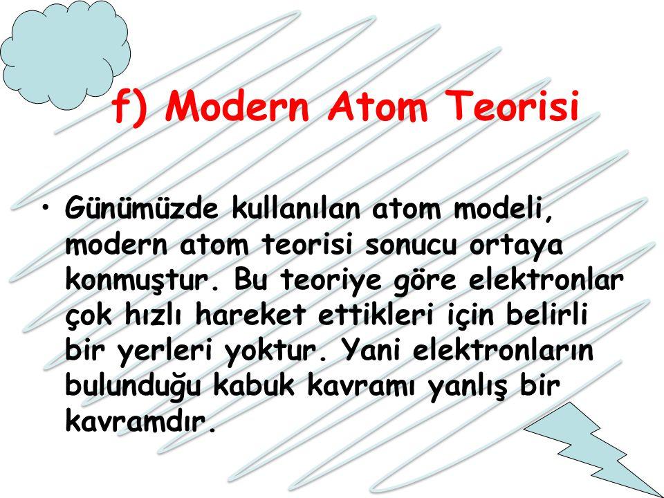 f) Modern Atom Teorisi