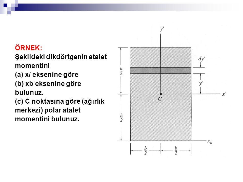 ÖRNEK: Şekildeki dikdörtgenin atalet. momentini. (a) x/ eksenine göre. (b) xb eksenine göre. bulunuz.