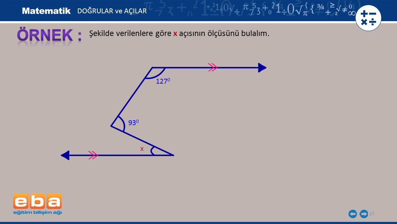 ÖRNEK : Şekilde verilenlere göre x açısının ölçüsünü bulalım.