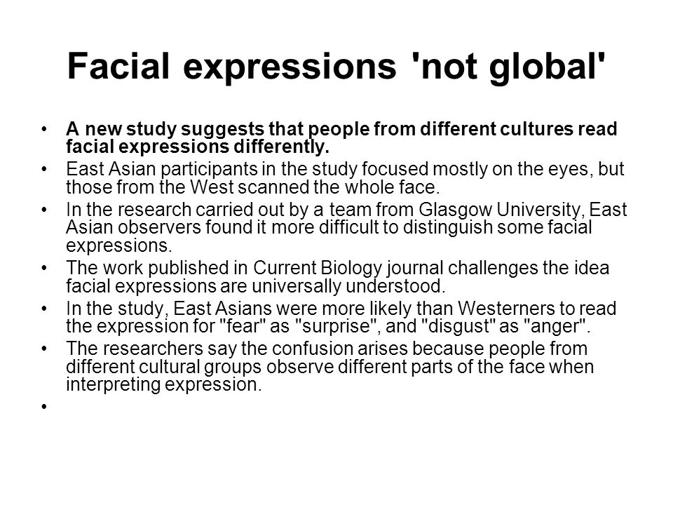 Facial expressions not global