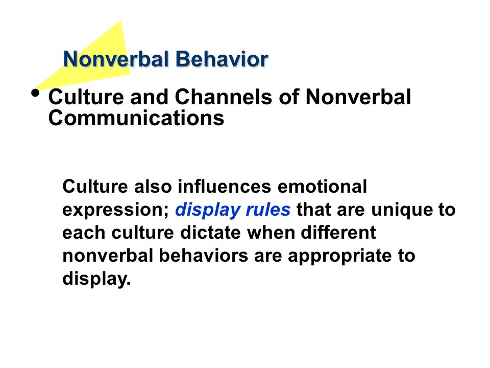 Nonverbal Behavior Culture and Channels of Nonverbal Communications