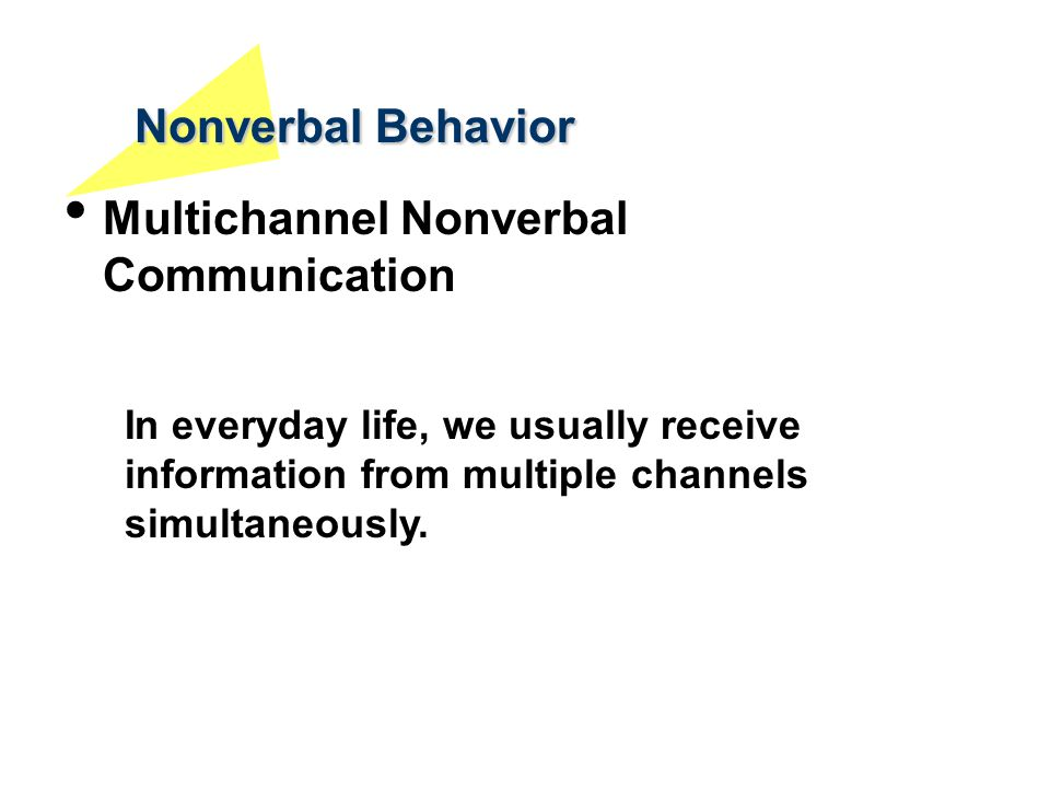 Nonverbal Behavior Multichannel Nonverbal Communication
