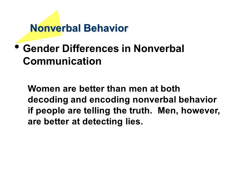 Nonverbal Behavior Gender Differences in Nonverbal Communication