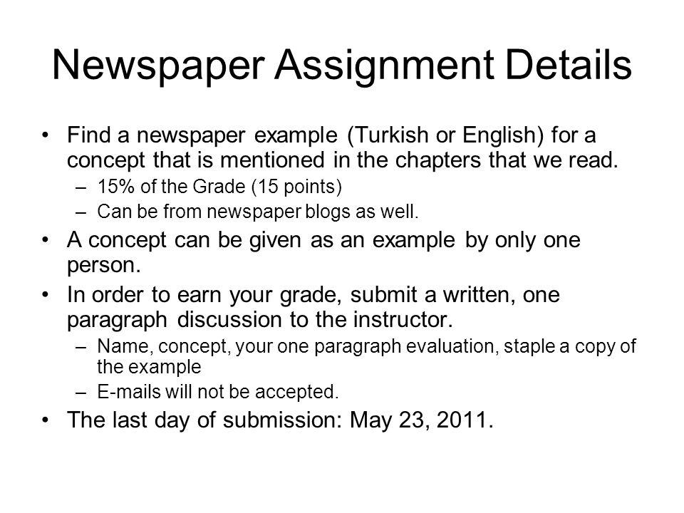 Newspaper Assignment Details