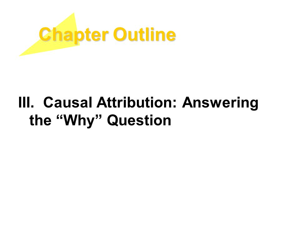 Chapter Outline III. Causal Attribution: Answering the Why Question