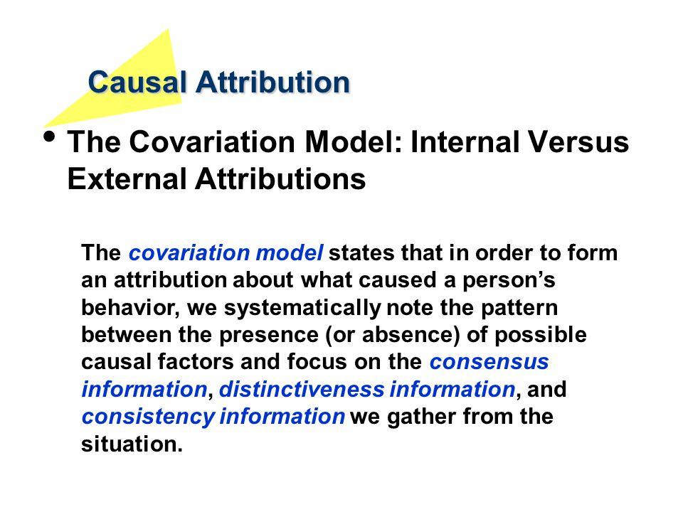 Causal Attribution The Covariation Model: Internal Versus External Attributions.