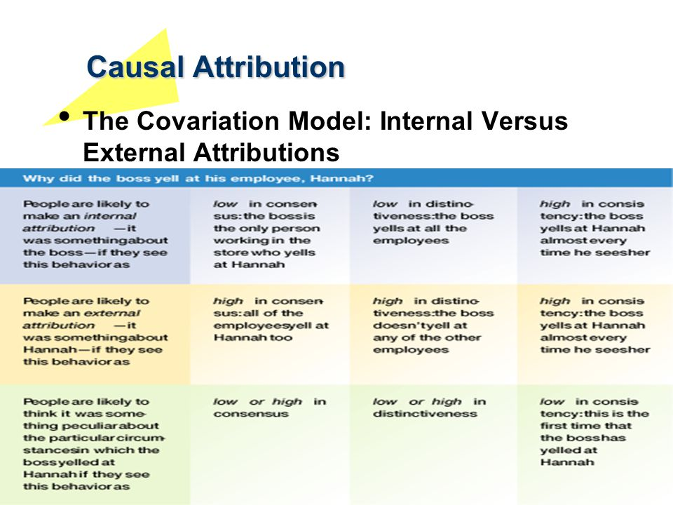 Causal Attribution The Covariation Model: Internal Versus External Attributions